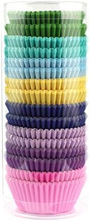 Xlloest Premium Mini Rainbow Bright Baking Cups、カップケーキライナー紙、パックの400