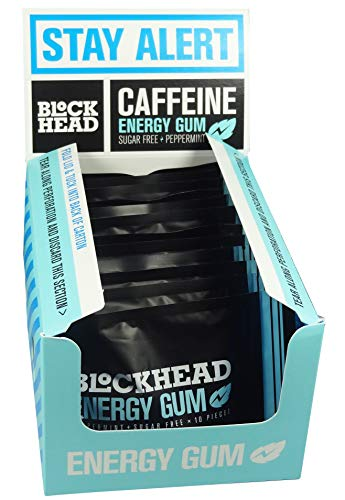 (Blockhead Sugar Free Energy Gum - Peppermint Flavour - 10 Gums (Pack of 12))