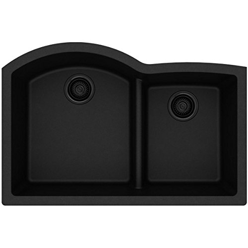 - Elkay Quartz Classic ELGHU3322RBK0 Black Offset 60/40 Double Bowl Undermount Sink with Aqua Divide