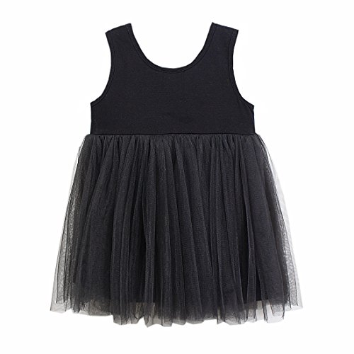 Peony Baby Baby Girls Black Dress Tutu Sundress Tulle Skirt Cotton 4 Colors (9-12m, Black) (Tutu Dress Peony)