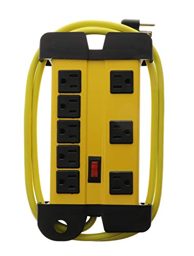Viasonic Industrial Surge Protector - 8 Outlet Strip - Heavy Duty Metal Housing - 90J, Circuit Breaker, Easy Wrap Around Cord, Safety Yellow - ETL-Listed - by Unity