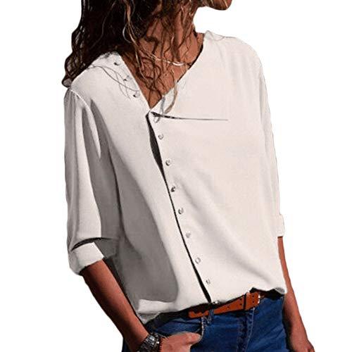 Button Longues Chemisier Manches Femme Tunique Up Couleur Haut Casual Unie Blouse T Chic Shirt Top Blanc Mode vqETfqdwn5
