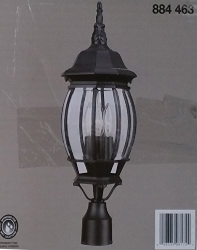 3-Light Black Outdoor Lamp by Hampton Bay