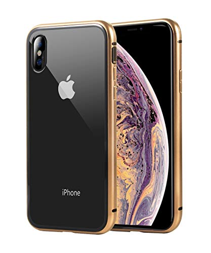 FiveADD Magnetic Adsorption Case for iPhone Xs Max/Xr/XS/X Built-in Tempered Glass Screen Protector Basic Cover Case Metal Frame Clear Back and Front