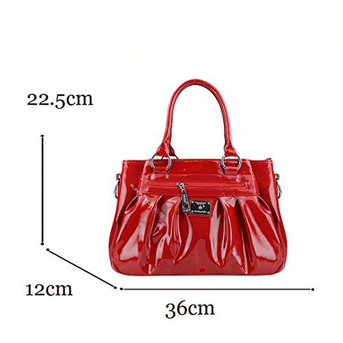 Vernis ou Shopper Rouge en Dames Rouge Sac Sac Bandoulière Femmes Wewod PU Messager Cuir L'epaule Main à pour à Cabas Fleurs 5EaqWS