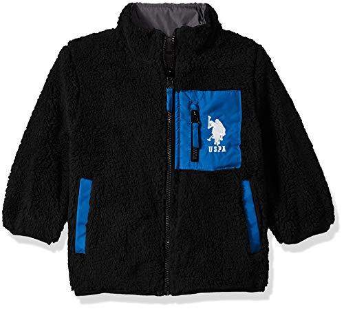 US Polo Association Boys' Little' Sherpa Fleece Reversible Jacket, Black/Blue Tile, 4
