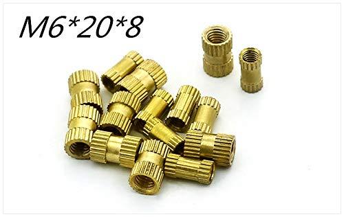 Nuts 500pcs/lot Brass Knurl Nuts M620mm(L)8mm(OD) Metric Threaded Nuts Insert Round Shape Embedded Through-Hole nut