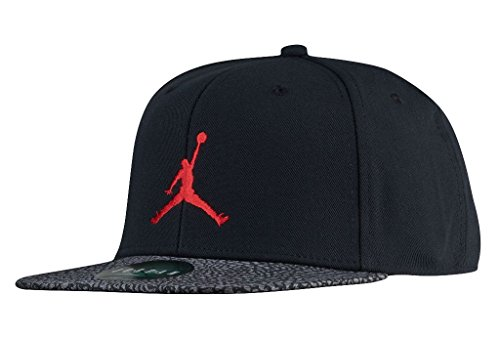 Nike Retro Hat - NIKE Jordan Big Boys' Youth Retro Snapback Hat (Black/Gym Red/Elephant Print, One Size 8/20)