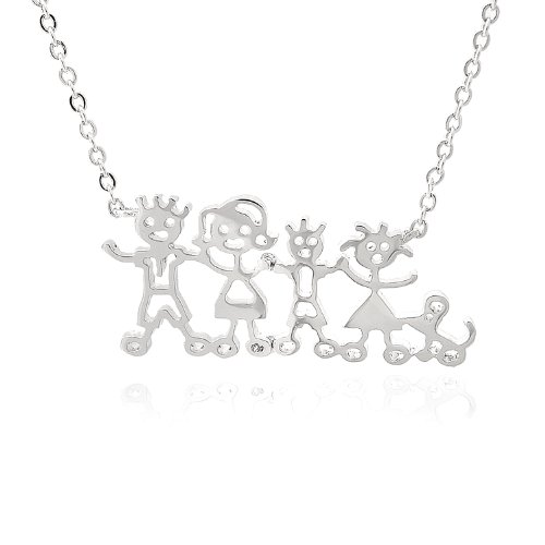 Minimal Silver Plated Crystal Innocent Kid Theme Necklace (Innocent Kids) - Pave Tiffany Style