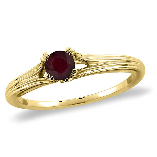 Genuine Round Ruby Solitaire Ring - 14K Yellow Gold Diamond Enhanced Genuine Ruby Solitaire Engagement Ring Round 5 mm, size 7.5