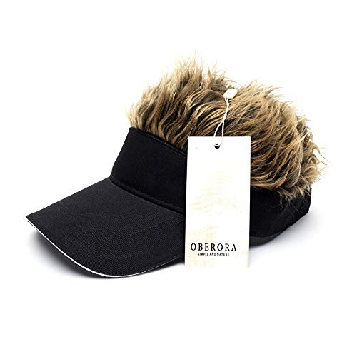Oberora Novelty Sun Cap Wig Peaked Adjustable Baseball Hat with Spiked Hairs -