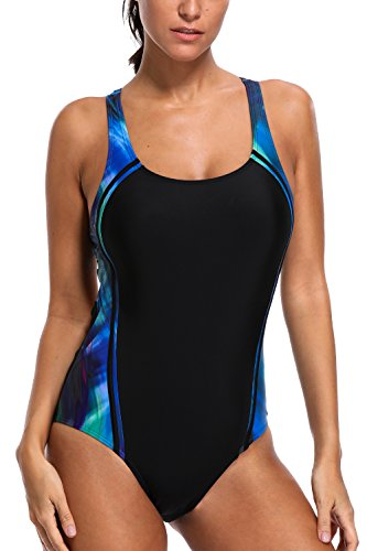 CharmLeaks Womens Bathing Suits Racerback One Piece Swimwear Swimmer Swimsuits Black/Blue - Piece For Swimmers One Swimsuit