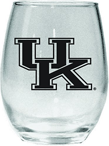 Nordic Promos NCAA Kentucky Wildcats 15 oz Stemless Wine Glass with Black Team Logo