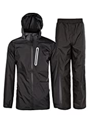 The rain suit, wind and waterproof with heat-sealed seams to keep wind and rain out. Polyurethane shell fabric bonded to a woven backing to provide additional fabric strength. Lined with mesh for air-flow and taffeta nylon in sleeves for easy...