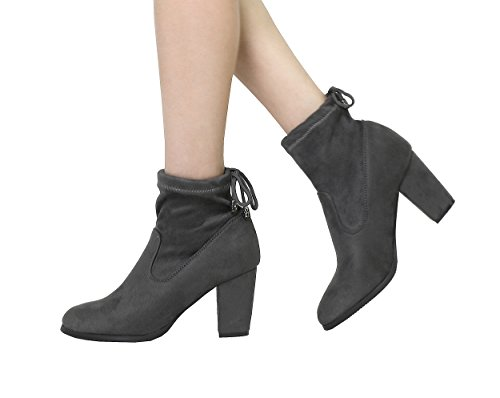 DREAM PAIRS Damen ANKLEG Chunky Heel Ankle Booties Grau
