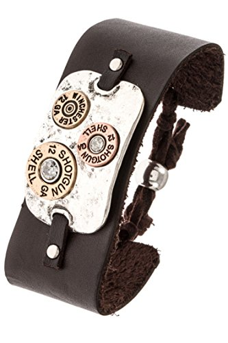Trendy Fashion Jewelry Hammered Metal Shotgun Accent Detailed Leather Adjust Bracelet By Fashion Destination | (Burnished Silver)