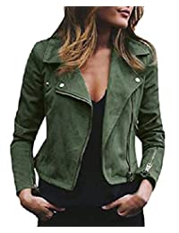 ZXFHZS-CA Women Long Sleeve Faux Leather Suede Zip up Lapel Moto Biker Jacket