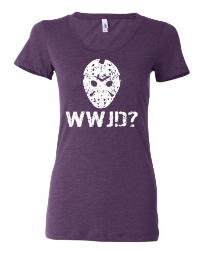 Small Purple Womens WWJD What Would Jason Do? Funny Horror Movie Tri-Blend Short Sleeved T-shirt (Jason Voorhees Clothes)