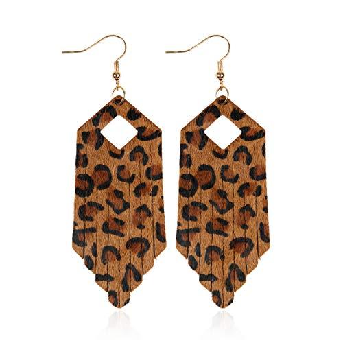 Zebra Fringe - RIAH FASHION Simple Genuine Leather Geometric Drop Earrings - Bohemian Lightweight Hook Dangles Calf Hair Teardrop, Zebra Petal Leaf, Leopard Hoop (Fringe Tassel Leopard - Brown)