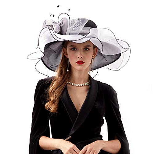 Rotus Women's Organza Church Kentucky Derby Fascinator Bridal Tea Party Wedding Formal Hat, Ladies Wide Brim British Fancy Summer Ruffles UV-Anti Cap (Design 2 - Black & White)]()