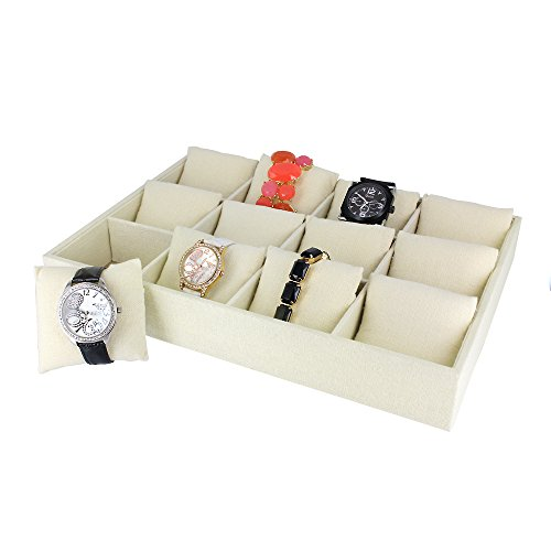 caddy-bay-collection-linen-watch-jewelry-display-case-tray-holds-12-watches