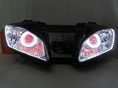 Motorcycle 55W HID Projector Headlight Halo Ring White Angel Eye Red Demon Eye Front Head Light Lamp Assembly Assembled for 2006-2007 Yamaha YZF R6 06-07 Silver