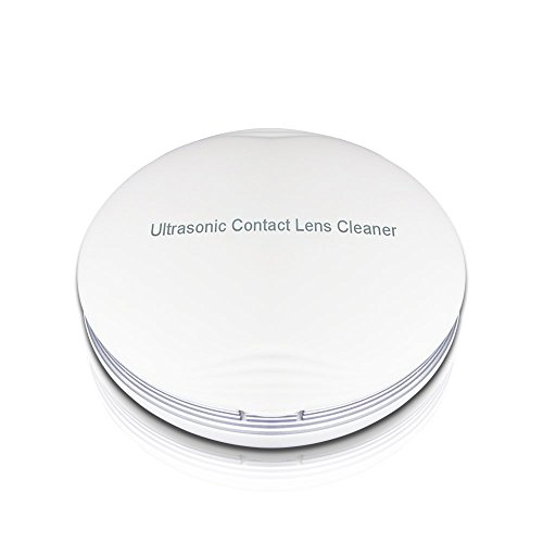 Portable Ultrasonic Contact Lens Cleaner Fast Cleaning Sclerals Lenses Daily Care Contact Lenses with Vanity Mirror and Rechargeable USB (Contact Lenses Circle Lens)