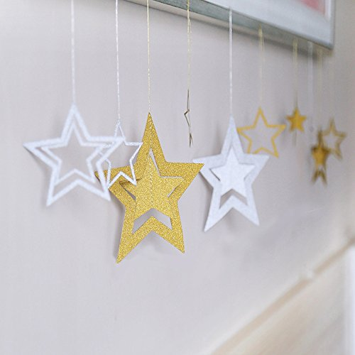 Lacheln Twinkle Twinkle Little Star Hanging Decorations for Baby Shower Birthday Party (Glitter Silver+Glitter Golden 28 (Little Christmas Star)