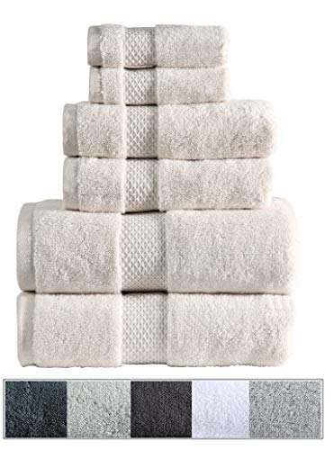 Royal Velvet Bath - Royal Ascot 100% Zero Twist Cotton Towel Set 6 pc Set- 2 Bath Towels, 2 Hand Towels, 2 Face Towels, 550 GSM, Softer Than a Cloud, Absorbent, Machine Washable, Plush, SPA Towels (Ivory, 6 pc Set)