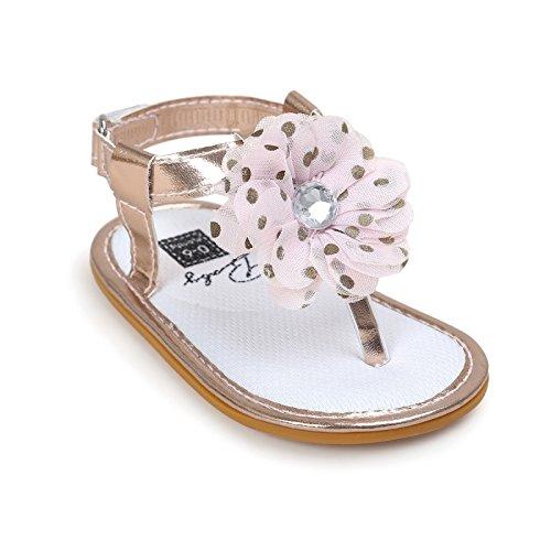 amatys Polka–Sandalia Margarita niña de 0a 18meses 0/6Meses, 6/12Meses, 12/18Meses Or beige Talla:12/18 meses oro rosa