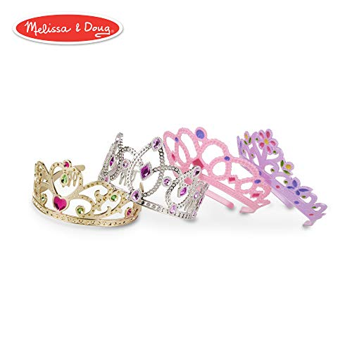 "Melissa & Doug Role-Play Collection Crown Jewels Tiaras, Pretend Play, Durable Construction, 4 Dress-Up Tiaras and Crowns, 12"" H x 8"" W x 5"" -"