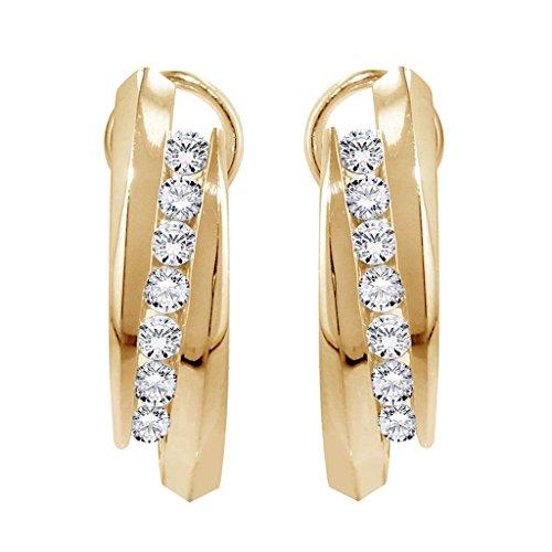 1.00 CT TW Channel Set Diamond Huggie Earrings in 14k Yellow Gold