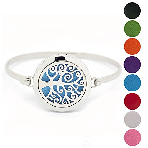 316L Stainless Steel Aromatherapy Essential Oil Diffuser Bracelet Locket Bangle with 8 Color Pads by JOYMIAO