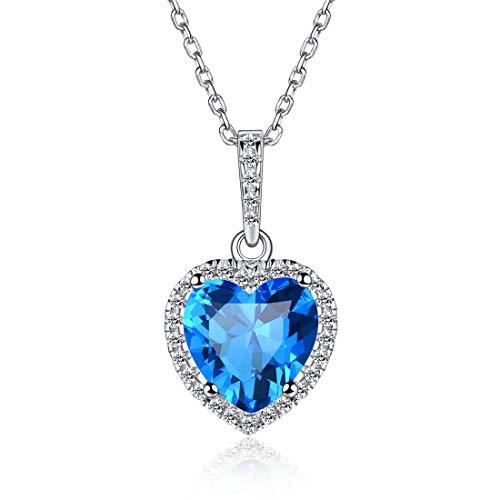 Heart Necklace Love Zircon December Birthstone Necklace Sterling Silver Gemstone Pendant Heart Jewelry Gifts for Women -