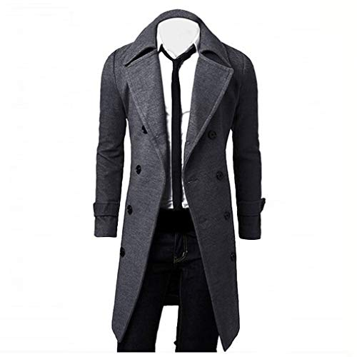 Muranba Clearance Men Slim Trench Coat Double Breasted Long Jacket ()