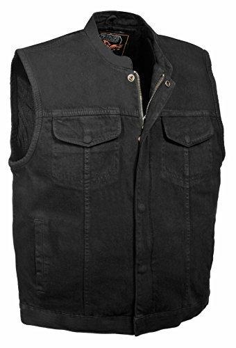 Milwaukee Leather Men's Concealed Snap Denim Club Style Vest w/Hidden Zipper (Black, ()
