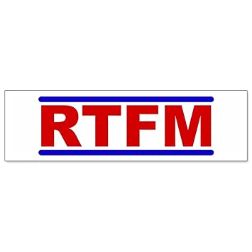 Car bumper sticker rtfm browse the fraging manual