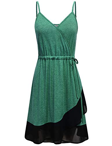 Midi Dresses for Women Casual Summer, Misses Deep Criss Cross V Neck Tie Waist Hi Low Flowy Crepe Hem Patchwork Slim Fit Spaghetti Strap Sun Dress Knee Length Green L