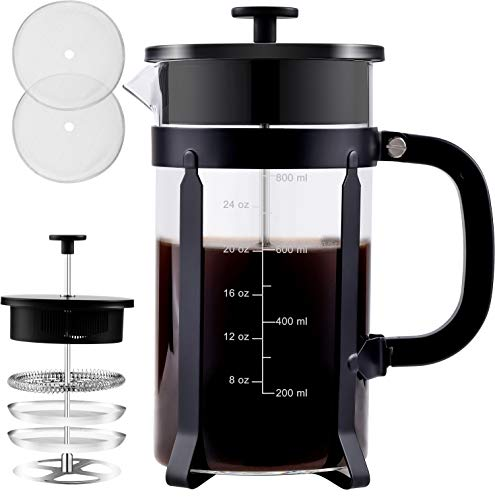 34 Oz French Press Coffee Maker With 4 Level Filtration System,French Press Borosilicate Glass,French Press Stainless Steel Glass,Glass Stainless Steel Coffee Maker French Press