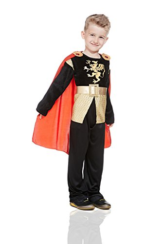 Kids Boys Ancient Warrior Halloween Costume Medieval Knight Dress Up & Role Play (3-6 years, black, gold, red)