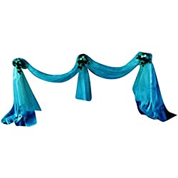 MagiDeal Sheer Organza Fabric Bowknot Tulle Party Wedding Table Runner - teal blue