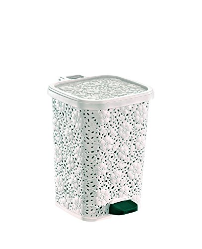 Superio Compact Trash Can, Lace Style, 6 Qt. (White)