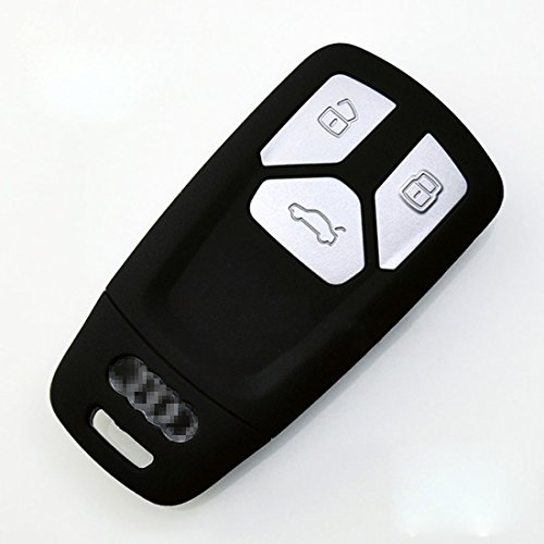KMT Silicone Car Smart Remote Fob Case keyless Enter Key Cover Skin Holder for Audi 2016-2017 Q7 2017 A4L (Pack of 1) in Black - Slicone Skin