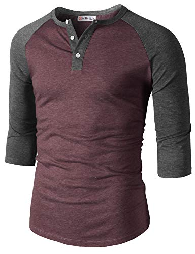 - H2H Mens Casual Slim Fit Raglan Baseball Three-Quarter Sleeve Henley T-Shirts Burgundy US S/Asia M (CMTTS0229)