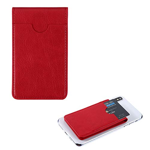 Pocket+Stylus, Fits Universal SAMSUNG HTC MOTOROLA MYBAT Red Leather Flip Adhesive Card Pouch/Stand. Soft Spandex Sleeve Secure Wallet.Fits Most Phones,Tablets,Gadgets w Flat Surface.See Models below: