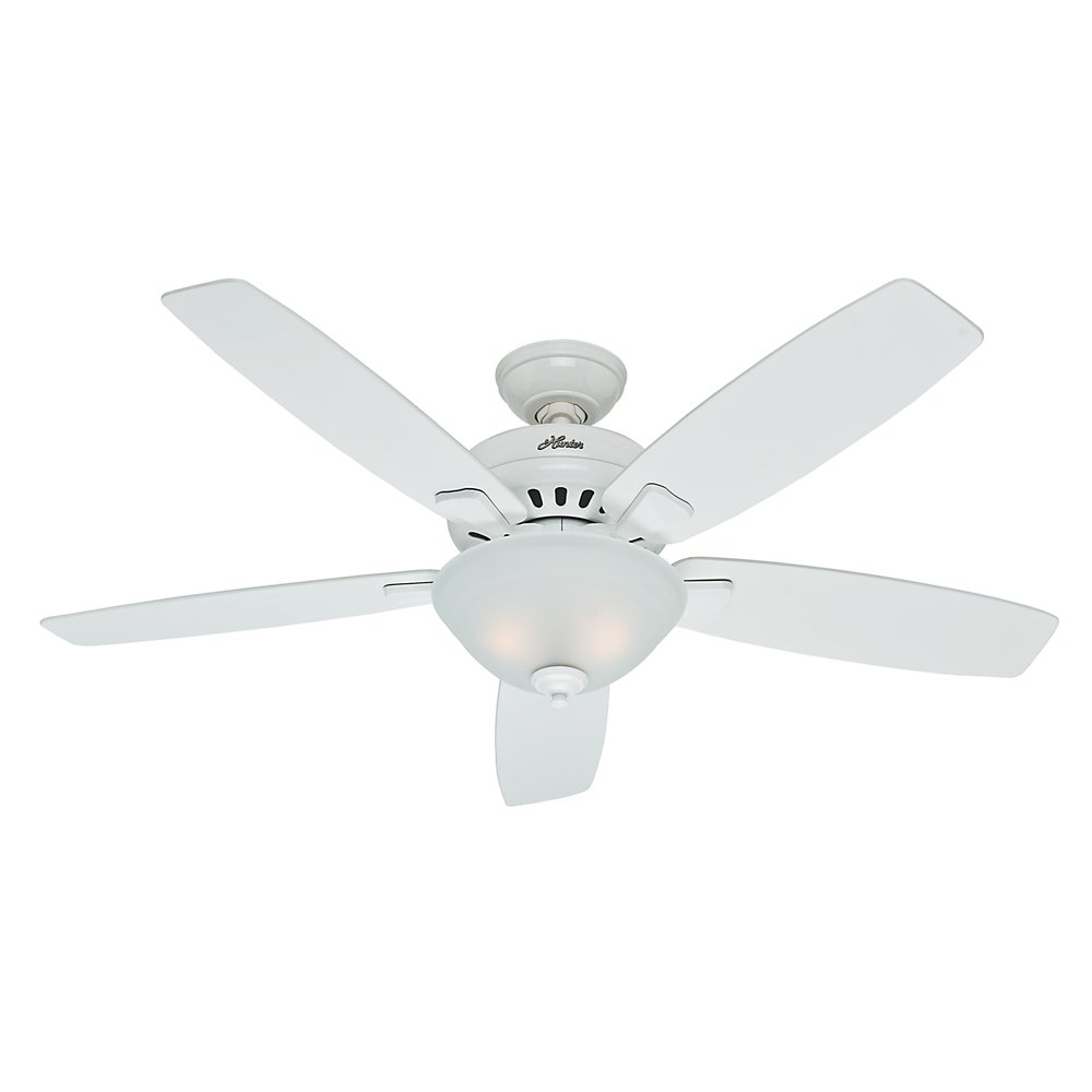 Hunter 53177 Banyan 52 Inch Snow White Ceiling Fan With Five Snow White  Blades And A Light Kit     Amazon.com