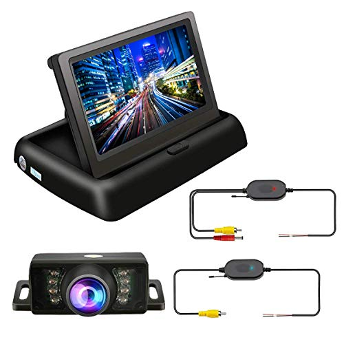 TVIRD Backup Camera and Monitor Wireless Car Rear View System Night Vision IR Reversing Rear View Camera +Foldable 4.3 Color HD LCD Monitor Parking