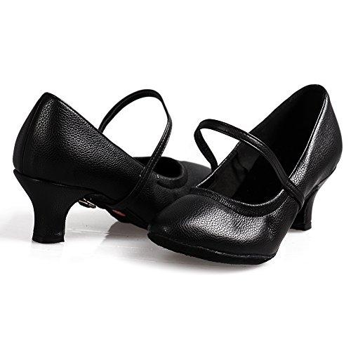 Femmes Cuir Samba Chaussures Modle Salsa Dance Noir 1920's Jazz Souliers Danse Pour Latin Hroyl Ballroom De 5003 XqOIw8xxg