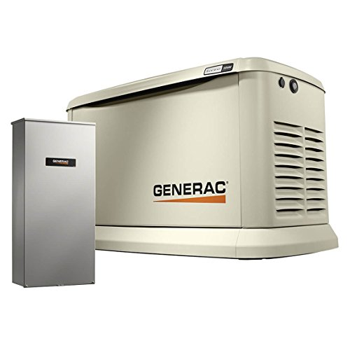 Switches Transfer Generac (Generac 70432 Home Standby Generator Guardian Series 22kW/19.5kW Air Cooled with Wi-Fi and Transfer Switch, Aluminum)