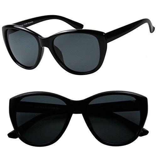 ShadyVEU - Classic Cat Eye POLARIZED Minimalist Fashion 100% UV Sunglasses (2 Pack Set, - Sunnies Eye Cat